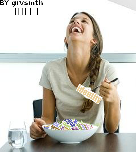 Woman Laughing Alone with Word Salad