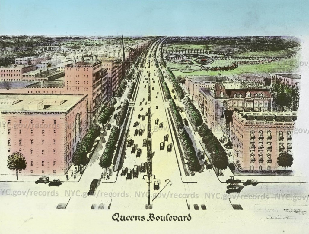 A 1914 proposal for the layout of Queens Boulevard by the Queens Chamber of Commerce. New York City Municipal Archives.
