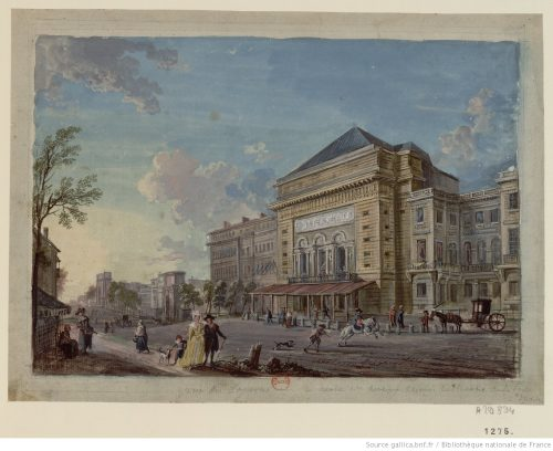 The Théâtre de la Porte Saint-Martin. Watercolor and gouache by Jean-Baptiste Lallemand