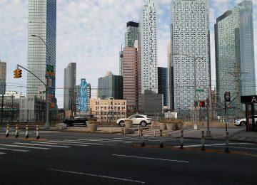 Long Island City rises behind the Sunnyside Yards